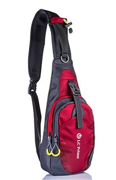 LC Prime® Sling Bag Chest Shoulder Unbalance Gym Fanny Backpack Sack Satchel Outdoor Bike nylon fabric red 1 - http://cyclingclothingforwomen.shopping-craze.com/index.php/2016/05/13/lc-prime-sling-bag-chest-shoulder-unbalance-gym-fanny-backpack-sack-satchel-outdoor-bike-nylon-fabric-red-1/