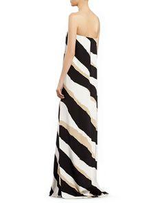 B2PTA Gucci Zebra Print Silk Strapless Gown