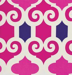 On sale, Hot Pink Ikat Damask Fabric, Fuchsia Ikat Fabric, Fushia Ikat with Royal Blue Fabric at WarmBiscuit.com