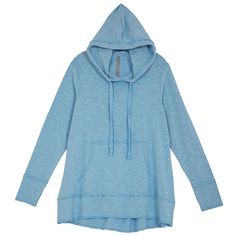 Melissa Mccarthy Seven7 Plus High-Low Hoodie ($59) ❤ liked on Polyvore featuring plus size women's fashion, plus size clothing, plus size tops, plus size hoodies, blue, plus size, hooded sweatshirt, blue pullover hoodie, blue hoodie and cotton pullover hoodie