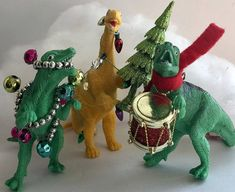 Dinosaur Christmas Ornaments Set of 3 Qwazy Dinos Dinosaur Dinosaur Christmas Ornament, Christmas Ornament Sets, Christmas Art, Christmas Holidays, Dinosaur Christmas Decorations, Christmas Wrapping, Advent, Christmas Tablescapes, Homemade Christmas Gifts