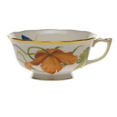 """Designed exclusively by and for the U.S. market, the stunning """"American Wildflowers"""" pattern features twelve wildflowers in four colorways: blues, red-oranges, yellows, and pinks. These beautifully detailed botanicals show off the true artistry and meticulous skills of Herend's craftspeople with a colorful and contemporary flair. The motifs may be mixed for an unforgettable tablesetting, or choose your favorite colors and blooms for the ultimate in personalization."""