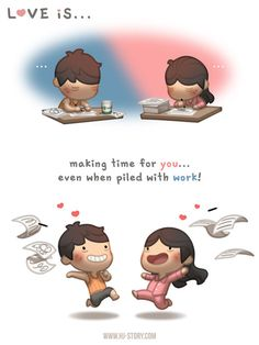 Love is making time for you is part of Hj story - Lately both Kate and I had been really busy, but luckily we're great at procrastinating and play first, work later! Love Is Comic, Love Is Cartoon, Cute Love Cartoons, Couple Cartoon, Hj Story, Islamic Quotes, Urdu Quotes, Qoutes, Comics Love