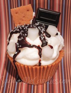 YUMMY S'MORES Jumbo Cupcake Candle by SugarvilleCandles on Etsy, $15.95