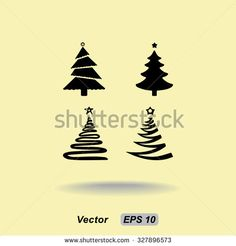 Christmas tree sign icons, vector illustration. Flat design style