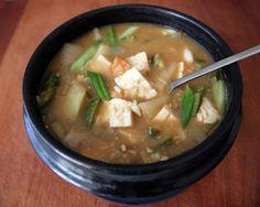Doenjang jjigae - First Korean dish I mastered. I like to make it vegetarian and w/ Kimchi. Yum!