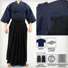 Standard Lightweight Single Layered Gi & DX Tetron Hakama Set Kendo, Martial Arts Supplies, Layers, Layering