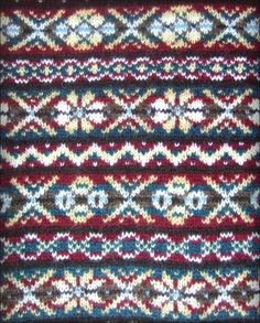 Fair Isle pattern from a great hand-knit sweater creator who actually lives on Shetland Island. Incredibly reasonable prices, too, for them. Love the colours.