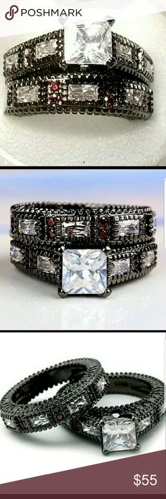 Princess Black GF Wedding Set Ruby Accents 9 Princess Cut Black Gold Filled Wedding Set Ruby Accents 9 AprilsPlace Jewelry Rings