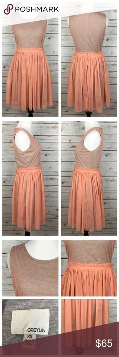 """[Anthropologie] Tahitian Dusk Dress Greylin Boho Modern ballerina frock!!Feminine peach tulle overlay with a soft and stretchy heather gray lining. Sleeveless. Fit and flare style. Hidden back zip. Perfect for day to night or any occasion! By Greylin from Anthropologie.   Fabric: Polyester Cotton Polyamide  Bust: 16.5"""" Waist: 13.5"""" Length: 35"""" Condition: EUC. No flaws. Like new.  No Trades! Anthropologie Dresses"""