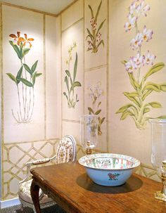 Chinoiserie wallpaper: Orchids on Raw Dyed silk