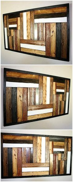 Simply designed this wood pallet art wall is different idea to bless your place fantastically. Its easy project to be crafted. All you need is just to have proper sized long pallets, color them in different color. Presence of such crafts make your place more special. #pallets #woodpallet #palletfurniture #palletproject #palletideas #recycle #recycledpallet #reclaimed #repurposed #reused #restore #upcycle #diy #palletart #pallet #recycling #upcycling #refurnish #recycled #woodwork…