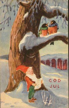 Julekort Paul Lillo-Stenberg. Nissen og fuglene synger. Utg J.H.Küenholdt. Stemplet 1943