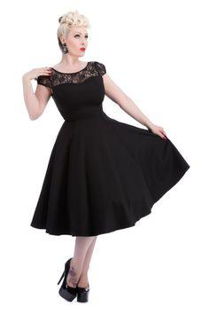 Black Mesh Lace 50's Swing Dress by H&R London