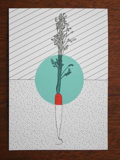 postcard - polypodium - graphic design - illustration - carrot -möhre