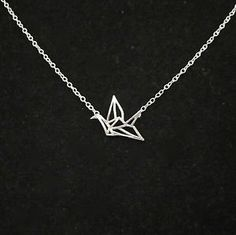 "925 Sterling Silver small ORIGAMI CRANE BIRD pendant + 16"" S/Silver necklace"