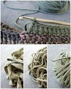 Yarn made from t-shirts. The tutorial is in French. But it's pretty easy, cut up strips and pull them tightly as you wind the ball (it will make the strips curl in on themselves and look like yarn. on imgfave