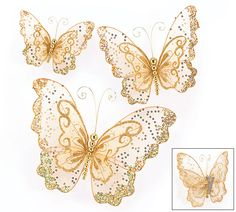 "Gold sheer butterflies with double layered wings with glitters and sparkles and gold beadedd bodies. Includes clip on back for multiple decor uses!4""H X 5""W.5 1/2""H X 7""W.8""H X 10""W.3 Sets of 3. Total of 9 butterflies."