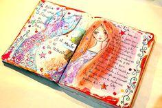 Vídeo-tutorial paso a paso sirena en página artjournal Mixed Media Art, Videos, Journals, Cinderella, Scrapbook, Youtube, Art Journaling, How To Draw Stuff, Envelopes