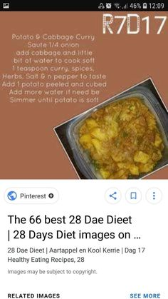Lunch Recipes, Diet Recipes, Cooking Recipes, Healthy Recipes, Healthy Meals, 28 Dae Dieet, Oven Baked Tilapia, Cabbage Curry