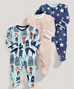 Boys Essentials Three Pack of Soldiers All in Ones - View All - Mamas & Papas