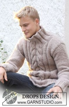 """DROPS Extra 0-553 - DROPS sweater in """"Eskimo"""" or """"Andes"""" with cables mid front. Size S to XXXL. - Free pattern by DROPS Design"""