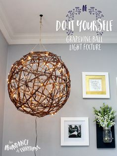 Do it yourself Grapevine ball light fixture I'm a sucker for anything rustic looking.With the summer weather coming, I've been seeing a lot of people post about how to spice up your outdoor living area with a bang for your buck. I'd have to say grapevine balls are by far my favourite idea! Hang a couple of those with lights in a tree and you've officially set the mood for any night owl. I loved the idea so much that I decided to take this rustic light fixture and move it inside the house…