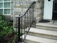 Most up-to-date Snap Shots Wrought Iron handrail Concepts Dwelling designing by using wrought iron will be as sturdy right now since the wrought iron metal itself. Porch Step Railing, Wrought Iron Porch Railings, Porch Handrails, Exterior Stair Railing, Outdoor Stair Railing, Iron Handrails, Front Porch Steps, Balcony Railing Design, Railing Ideas