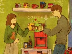 """""""Here's to us!"""" by Korean artist Puuung. Part of the """"Love is"""" series via grafolio."""