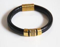 Men's Black Licorice Leather Bracelets - Mens jewelry- Mens Bracelets With Gold Slider - Black leather Bracelets- Unisex Bracelets