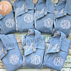 One of our favorites! Light Denim shirts, light pink thread for the bridesmaids shirts and white thread for the bride! All in mastercircle font! We can do anywhere from 5 shirt to as many as you need for your group! Message us for more information!!