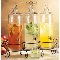 Amazon.com: Set of Three Glass Gallon Drink Dispenser with Stand , Good Bar Equipment Very Elegant. Hold together 1.5 Gallon: Kitchen & Dining