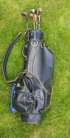 Vintage Leather Golf Bag Custom Knight & 6 Clubs Slazenger Memphis Sota  #Slazenger