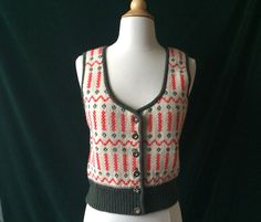 Vintage Austrian Knit Womens Sweater Vest by Baxtervintage on Etsy