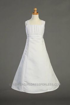 First Holy Communion/Flower Girl Style SP916- Gathered Organza Bodice with Satin A-Line Skirt $80.00