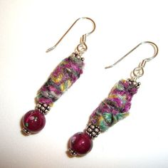 Fiber Earrings, Pink Earrings, Mauve, Textile, Made In The USA by Andreas Jewelry.