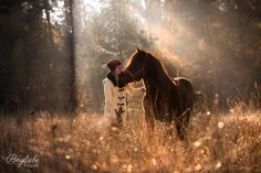 Autumn Magic - Ilona and her young icelandic gelding Solón in a beautiful autumn sunrise in Germany.