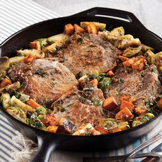 Roasted Pork Chops with Brussels Sprouts and Sweet Potatoes - Taste of the South Magazine (potatoe casserole recipes pork chops) Pork Chop Recipes, Meat Recipes, Dinner Recipes, Cooking Recipes, Cooking 101, Fall Recipes, Yummy Recipes, Dinner Ideas, Yummy Food