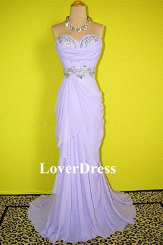 Lavender Prom Dress, Corset Prom Dress, Beaded Prom Dress, Chiffon Prom Dress / Dance Dress