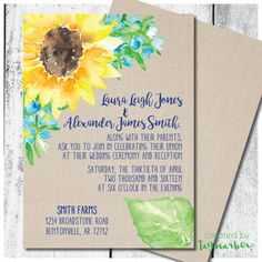PRINTABLE CUSTOM SUNFLOWER WEDDING INVITATION  This customizable wedding invitation is perfect for spring, summer & fall weddings, and matches your