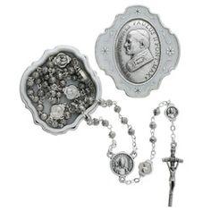 Pope John Paul II Rosary box with Rosary. Made in Italy. #CatholicCompany