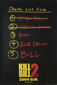 Kill Bill 2 Death List Japanese movie poster