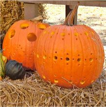 Use a drill to decorate your pumpkin this year.  You can carve holes in fun designs and add a light to see your handiwork shine through!