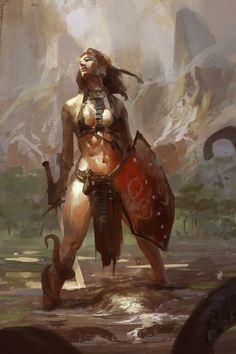 sali by ~0BO on deviantART [ female, barbarian, warrior ]