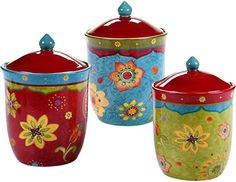 Amazon.com | Certified International 22455 3 Piece Tunisian Sunset Canister Set, Multicolor: Serveware Accessories