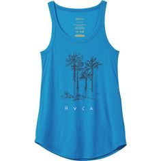 RVCA Women's Beach Tank Top ($23) ❤ liked on Polyvore featuring tops, cerulean, rvca tank tops, blue tank top, beach tops, rvca and screen print tank tops