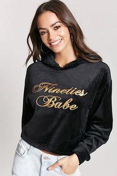 Nineties Babe Velvet Pullover Hoodie