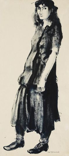 Josef Hegenbarth (German, 1884–1962) Young Lady (Junge Frau), 1948 Brush and India ink drawing in black blue
