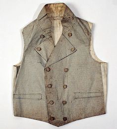 Waistcoat, ca. 1830, European, Made of linen