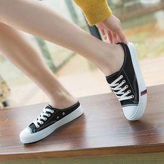 [leggycozy] Korean Lovely Canvas Style Flat Mules Shoes Mules Shoes Flat, Kawaii Shoes, Fabric Shoes, Fashion Flats, Types Of Shoes, Slippers, Korean, Vans, Heels